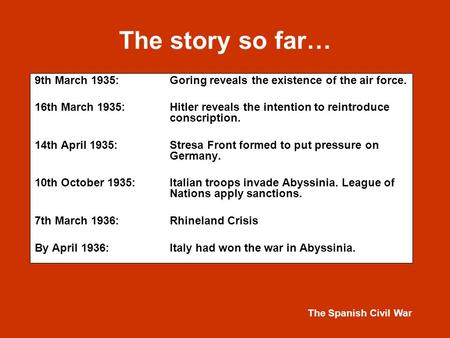 The Spanish Civil War The story so far… 9th March 1935:Goring reveals the existence of the air force. 16th March 1935:Hitler reveals the intention to reintroduce.