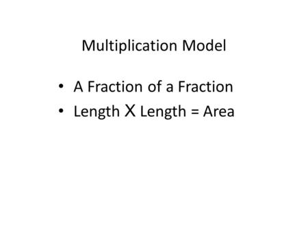 Multiplication Model A Fraction of a Fraction Length X Length = Area.
