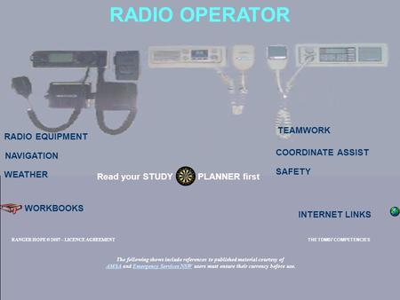 RADIO OPERATOR RADIO EQUIPMENT TEAMWORK SAFETY Read your STUDY PLANNER first NAVIGATION WORKBOOKS INTERNET LINKS WEATHER COORDINATE ASSIST RANGER HOPE.