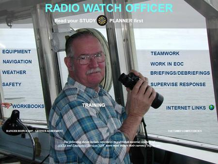 RADIO WATCH OFFICER EQUIPMENT SAFETY BRIEFINGS/DEBRIEFINGS Read your STUDY PLANNER first SUPERVISE RESPONSE NAVIGATION WORKBOOKS INTERNET LINKS WEATHER.