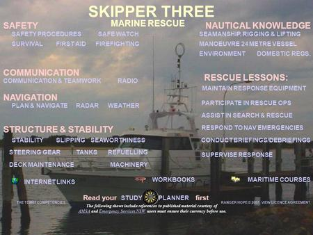 MARINE RESCUE MARITIME COURSESWORKBOOKS INTERNET LINKS SAFETY COMMUNICATION & TEAMWORK SEAWORTHINESS DOMESTIC REGS. WEATHER RADIO PLAN & NAVIGATE SKIPPER.