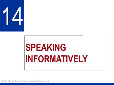 SPEAKING INFORMATIVELY 14 © 2011 The McGraw-Hill Companies. All rights reserved.