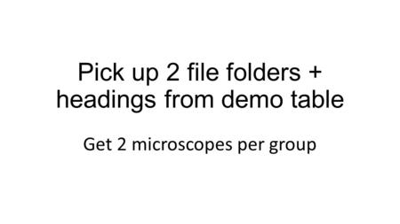 Pick up 2 file folders + headings from demo table Get 2 microscopes per group.