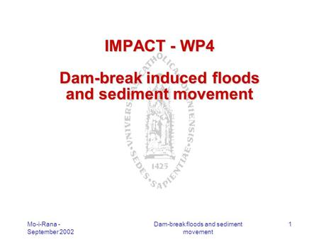 Mo-i-Rana - September 2002 Dam-break floods and sediment movement 1 IMPACT - WP4 Dam-break induced floods and sediment movement.
