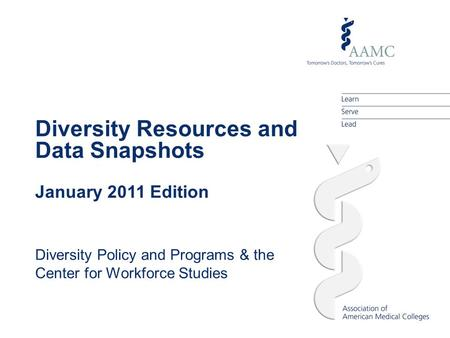 Diversity Resources and Data Snapshots January 2011 Edition Diversity Policy and Programs & the Center for Workforce Studies.