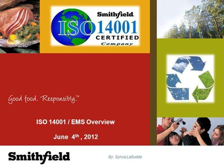 ISO 14001 / EMS Overview June 4 th, 2012 By: Sylwia LaBudde.