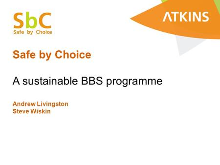Safe by Choice A sustainable BBS programme Andrew Livingston Steve Wiskin.