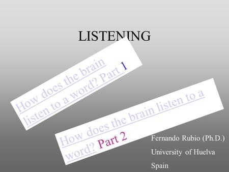 LISTENING How does the brain listen to a word?How does the brain listen to a word? Part 2 How does the brain listen to a word? Part How does the brain.
