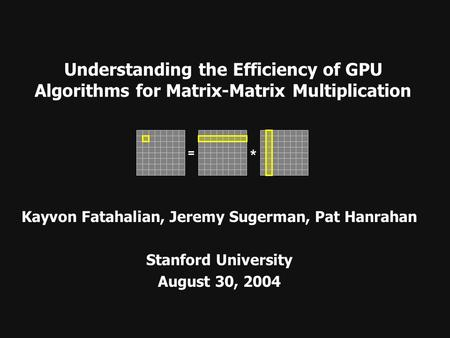Understanding the Efficiency of GPU Algorithms for Matrix-Matrix Multiplication Kayvon Fatahalian, Jeremy Sugerman, Pat Hanrahan Stanford University August.