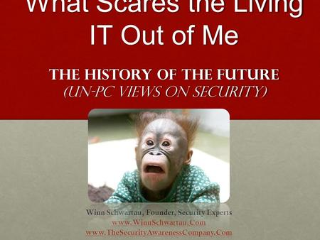 What Scares the Living IT Out of Me The History of the Future (Un-PC Views on security) Winn Schwartau, Founder, Security Experts www.WinnSchwartau.Com.