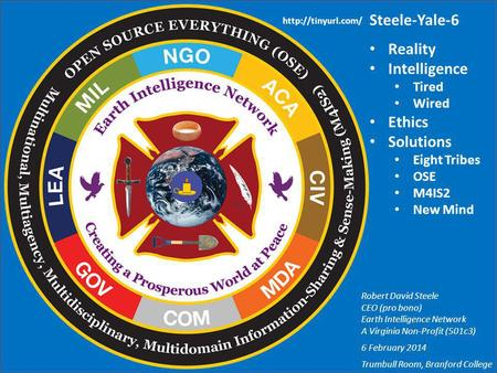 Steele-Yale-6 Reality Intelligence Tired Wired Ethics Solutions Eight Tribes OSE M4IS2 New Mind Robert David Steele CEO (pro bono) Earth Intelligence Network.