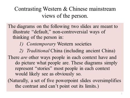 "Contrasting Western & Chinese mainstream views of the person. The diagrams on the following two slides are meant to illustrate ""default,"" non-controversial."