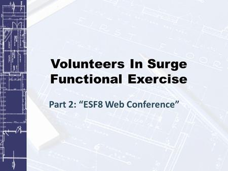 "Volunteers In Surge Functional Exercise Part 2: ""ESF8 Web Conference"""