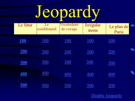Jeopardy Le futur Le conditionnel Vocabulaire de voyage 100 200 300 400 500 100 200 300 400 500 Double Jeopardy Irregular stems Le plan de Paris.
