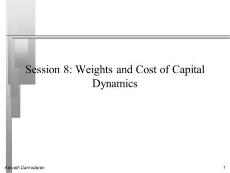 Aswath Damodaran1 Session 8: Weights and Cost of Capital Dynamics.