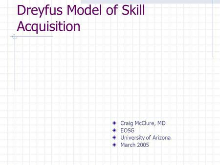 Dreyfus Model of Skill Acquisition
