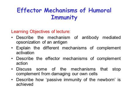 Effector Mechanisms of Humoral Immunity Learning Objectives of lecture: Describe the mechanism of antibody mediated opsonization of an antigen Explain.