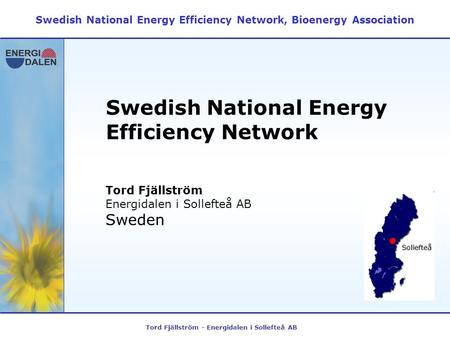 Tord Fjällström - Energidalen i Sollefteå AB Swedish National Energy Efficiency Network Swedish National Energy Efficiency Network, Bioenergy Association.