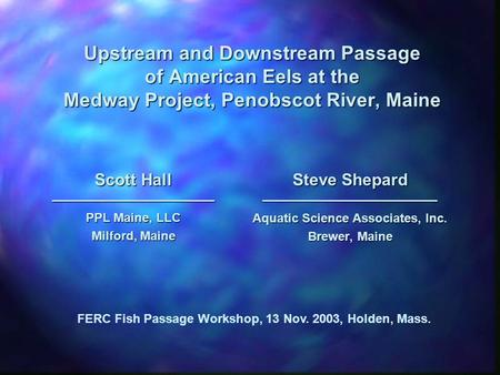Upstream and Downstream Passage of American Eels at the Medway Project, Penobscot River, Maine Scott Hall ————————————— PPL Maine, LLC Milford, Maine Steve.