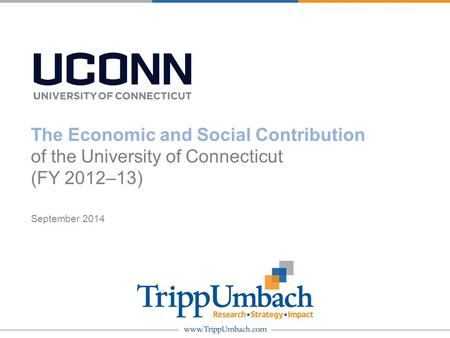 The Economic and Social Contribution of the University of Connecticut (FY 2012–13) September 2014.