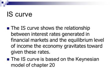 IS curve The IS curve shows the relationship between interest rates generated in financial markets and the equilibrium level of income the economy gravitates.