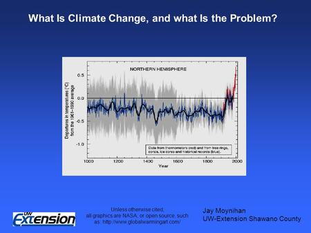 What Is Climate Change, and what Is the Problem? Jay Moynihan UW-Extension Shawano County Unless otherwise cited, all graphics are NASA, or open source,