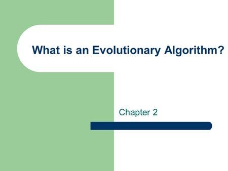 What is an Evolutionary Algorithm?