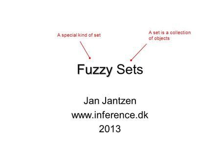 Fuzzy Fuzzy Sets Jan Jantzen www.inference.dk 2013 A set is a collection of objects A special kind of set.