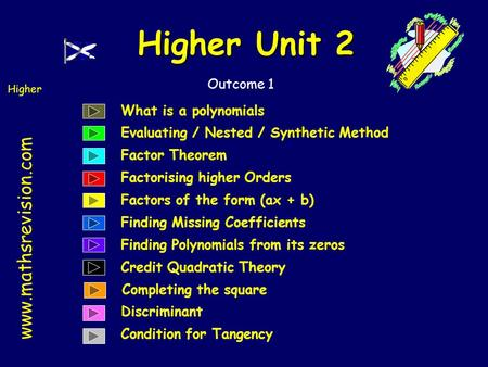 Www.mathsrevision.com Higher Outcome 1 Higher Unit 2 What is a polynomials Evaluating / Nested / Synthetic Method Factor Theorem Factorising higher Orders.