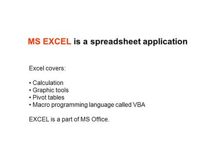 MS EXCEL is a spreadsheet application Excel covers: Calculation Graphic tools Pivot tables Macro programming language called VBA EXCEL is a part of MS.