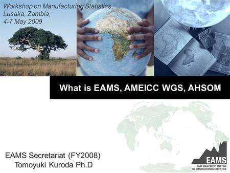 What is EAMS, AMEICC WGS, AHSOM Workshop on Manufacturing Statistics Lusaka, Zambia, 4-7 May 2009 EAMS Secretariat (FY2008) Tomoyuki Kuroda Ph.D.