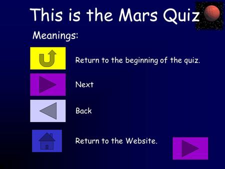 This is the Mars Quiz Return to the beginning of the quiz. Meanings: Next Back Return to the Website.