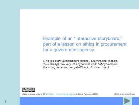"1 Example of an ""interactive storyboard,"" part of a lesson on ethics in procurement for a government agency. (This is a draft. Examples are fictional."