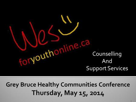 Crisis and Counselling Grey Bruce Healthy Communities Conference Thursday, May 15, 2014 1 Counselling And Support Services.