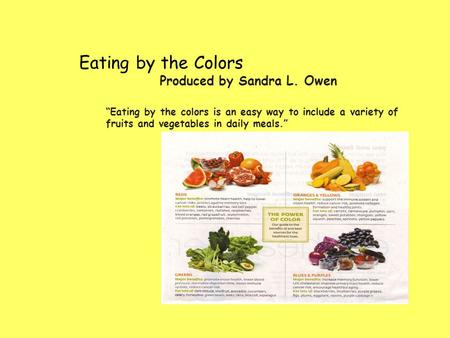 "Eating by the Colors Produced by Sandra L. Owen ""Eating by the colors is an easy way to include a variety of fruits and vegetables in daily meals."""