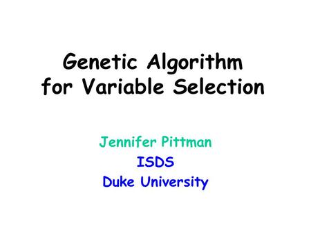 Genetic Algorithm for Variable Selection
