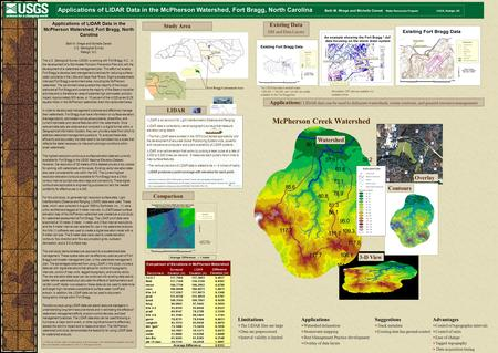7.7 104.8 56.1 95.0 117.7 117.8 81.3 Applications of LIDAR Data in the McPherson Watershed, Fort Bragg, North Carolina Beth M. Wrege and Michelle Cienek.