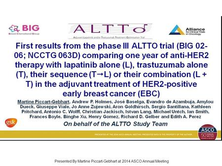 First results from the phase III ALTTO trial (BIG 02-06; NCCTG 063D) comparing one year of anti-HER2 therapy with lapatinib alone (L), trastuzumab alone.