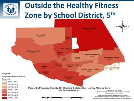 Outside the Healthy Fitness Zone by School District, 5 th.