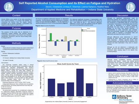 Self Reported Alcohol Consumption and its Effect on Fatigue and Hydration David J. Dziedzicki, Lindsey E. Eberman, Leamor Kahanov, Heather Mata Department.