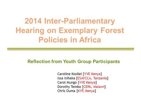 2014 Inter-Parliamentary Hearing on Exemplary Forest Policies in Africa Reflection from Youth Group Participants Caroline Kosilei [YVE Kenya] Issa Isihaka.