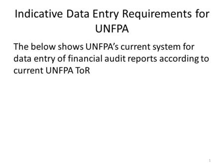 Indicative Data Entry Requirements for UNFPA The below shows UNFPA's current system for data entry of financial audit reports according to current UNFPA.