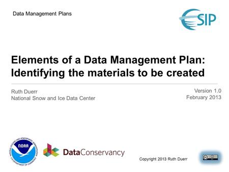 Elements of a Data Management Plan: Identifying the materials to be created Ruth Duerr National Snow and Ice Data Center Data Management Plans Copyright.