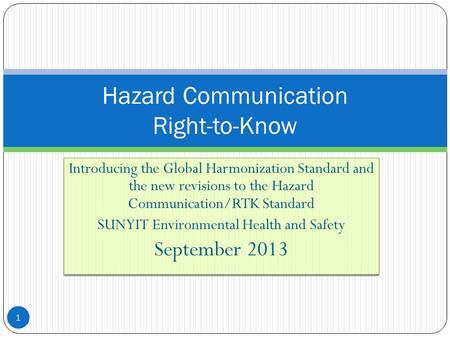 Hazard Communication Right-to-Know