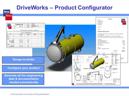 DriveWorks – Product Configurator Design-to-Order Configure your product Generate all the engineering data & documentation needed automatically Click anywhere.
