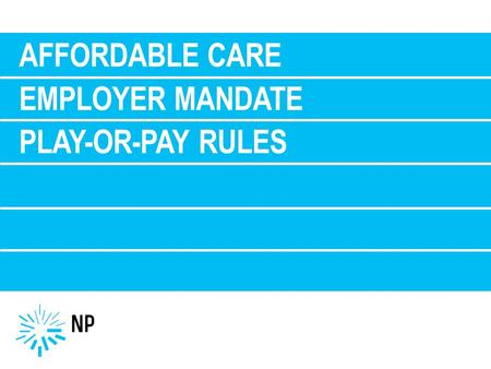 AFFORDABLE CARE EMPLOYER MANDATE PLAY-OR-PAY RULES.