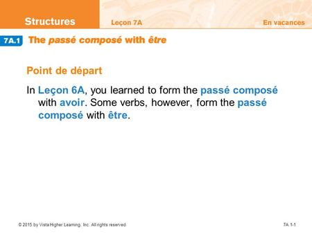 © 2015 by Vista Higher Learning, Inc. All rights reserved.7A.1-1 Point de départ In Leçon 6A, you learned to form the passé composé with avoir. Some verbs,