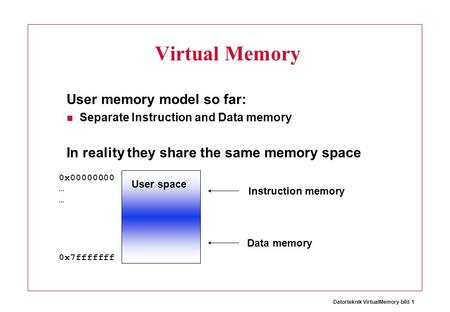 Datorteknik VirtualMemory bild 1 Virtual Memory User memory model so far: Separate Instruction and Data memory In reality they share the same memory space.