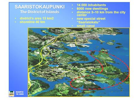 "14 000 inhabitants 6000 new dwellings distance 3–10 km from the city center new special street ""Saaristokatu"" small canal KUOPIO YK 2005 district's area."