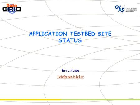 APPLICATION TESTBED SITE STATUS Eric Fede